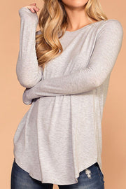 Krysha Heather Grey Round Neck Long Sleeve Top | Zenana