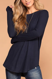 Krysha Navy Round Neck Long Sleeve Top | Zenana