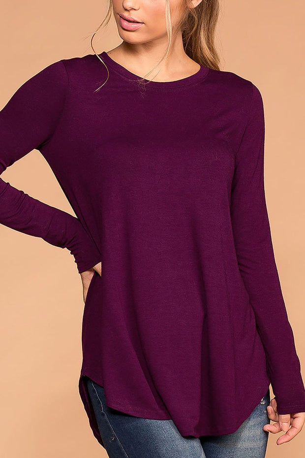 Krysha Plum Round Neck Long Sleeve Top | Zenana
