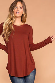 Krysha Rust Round Neck Long Sleeve Top | Zenana