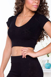 Like Fire Ribbed Crop Top - Black | Shop Priceless