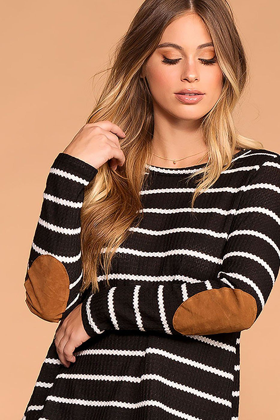 Libby Black Stripe Elbow Patch Sweater | 7th Ray
