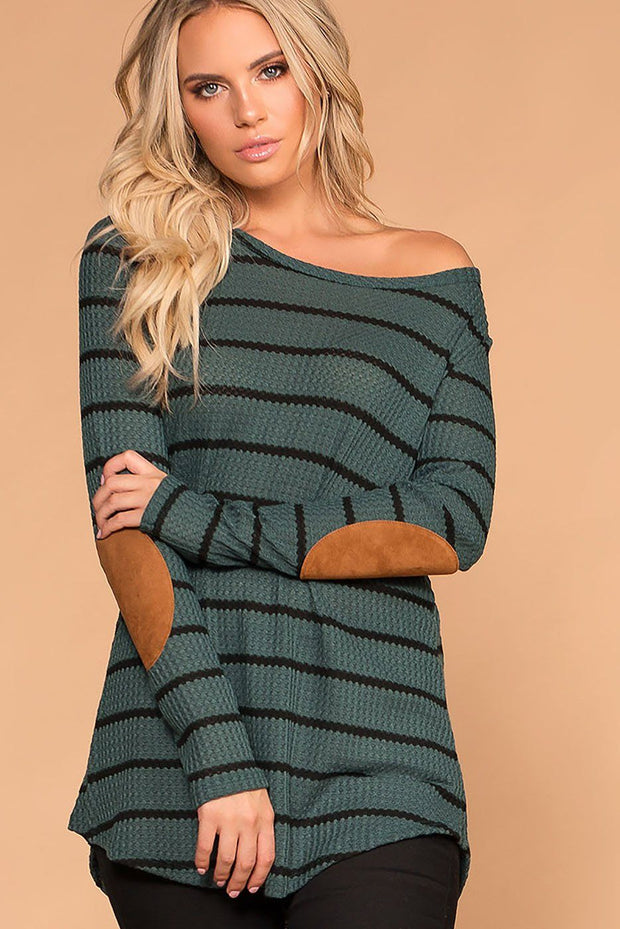 Libby Olive Stripe Elbow Patch Sweater | 7th Ray