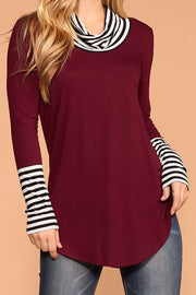Liza Burgundy Stripe Turtleneck Top | Zenana