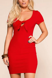 Lydia Red Tie-Front Mini Dress | Hearts & Hips