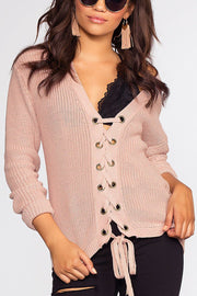 Lyla Lace Up Sweater - Light Mauve | Love Tree