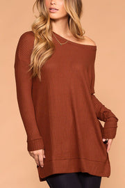 Maria Rust Waffle Knit Round Neck Sweater Top | Zenana