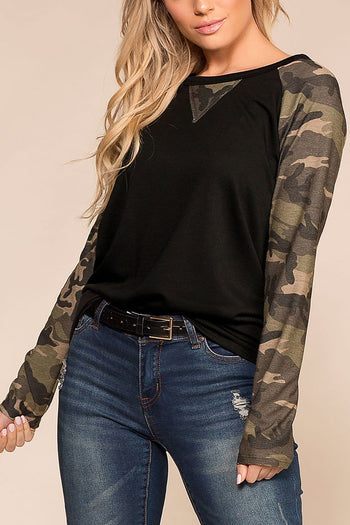 Marla Black and Camo Baseball Top | Fantastic Fawn