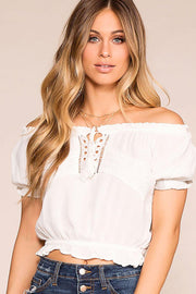 Michelle White Off The Shoulder Top | Ambiance Apparel