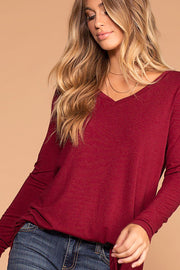 Missy Burgundy Long Sleeve V-Neck Top