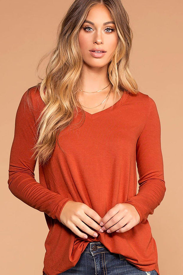 Missy Copper Long Sleeve V-Neck Top | Zenana