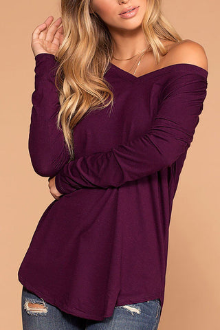 Missy Navy Long Sleeve V-Neck Top
