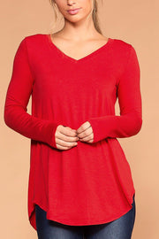 Missy Ruby Long Sleeve V-Neck Top | Zenana