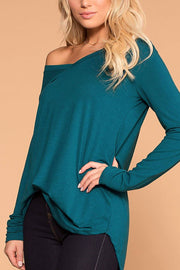 Missy Teal Long Sleeve V-Neck Top | Zenana
