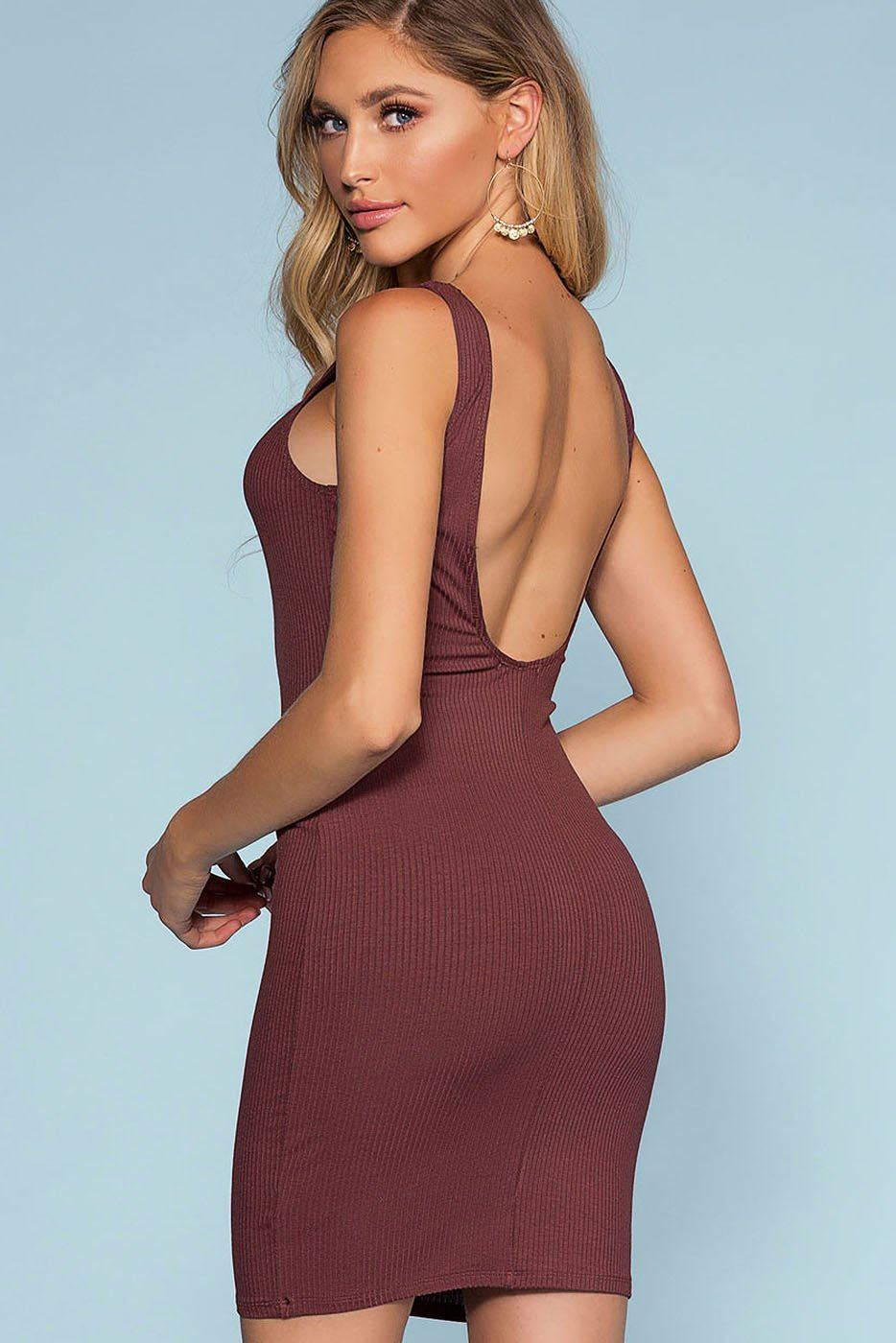 Misty Bodycon Dress - Marsala | Mono B