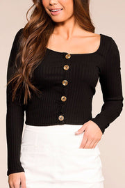 Optimistic Black Button Long Sleeve Crop Top | Hearts & Hips
