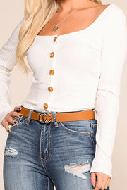 Optimistic White Button Long Sleeve Crop Top | Hearts & Hips