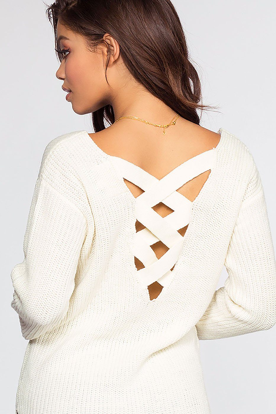Priestley Lace Back Sweater - Ivory | Ambiance