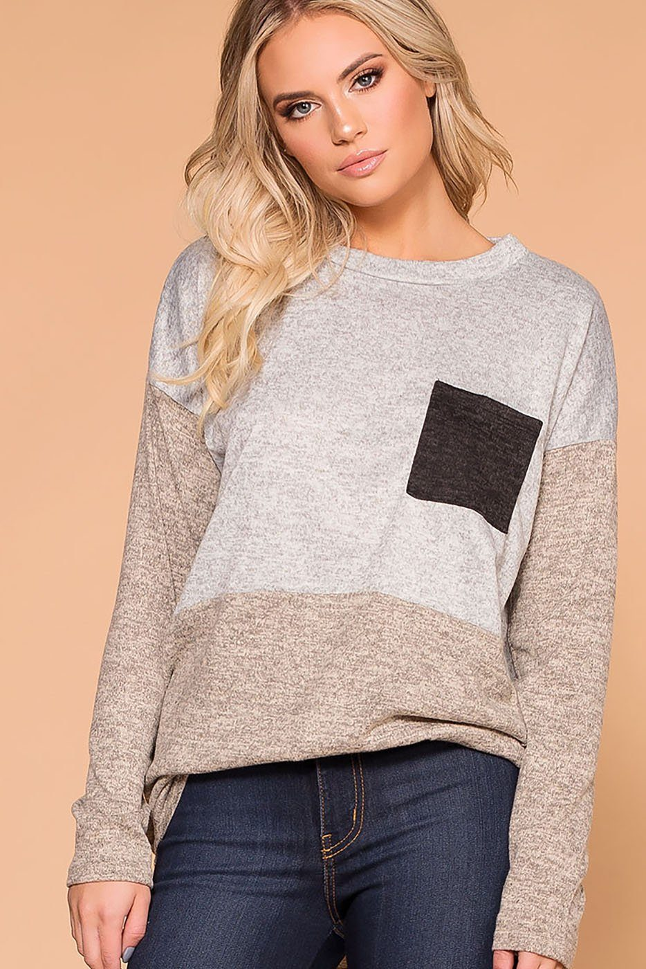 Pru Taupe Colorblock Pocket Top | My Story