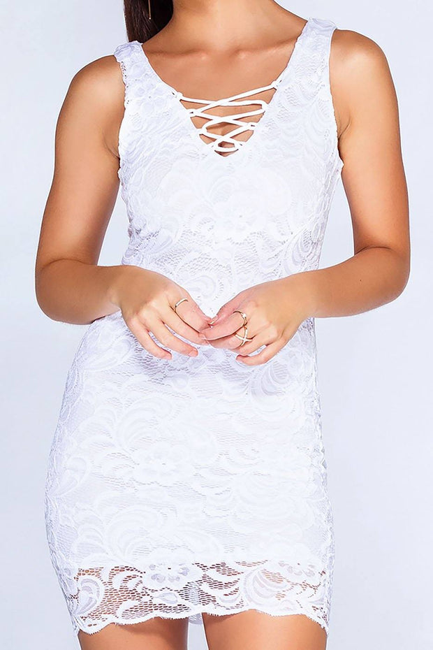 Say No More Lace Dress - White | Ambiance