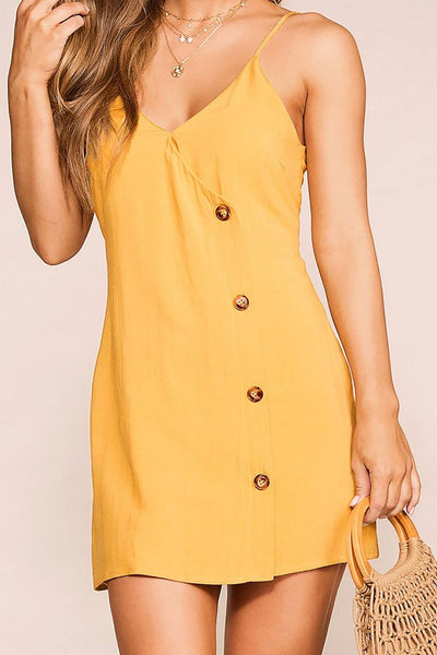 Skip Town Mustard Button Dress | Blue Blush