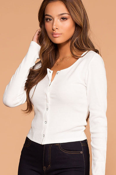 Snap It White Ribbed Long Sleeve Crop Top | Hearts & Hips