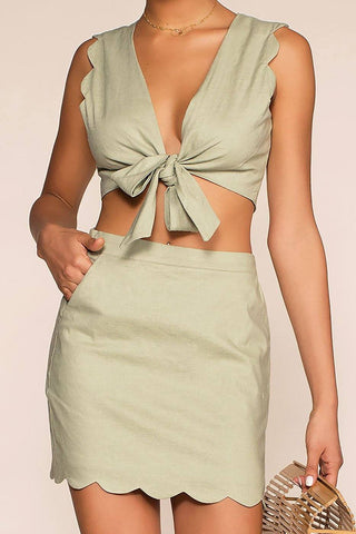 Emerald Dreams Satin Crop Top