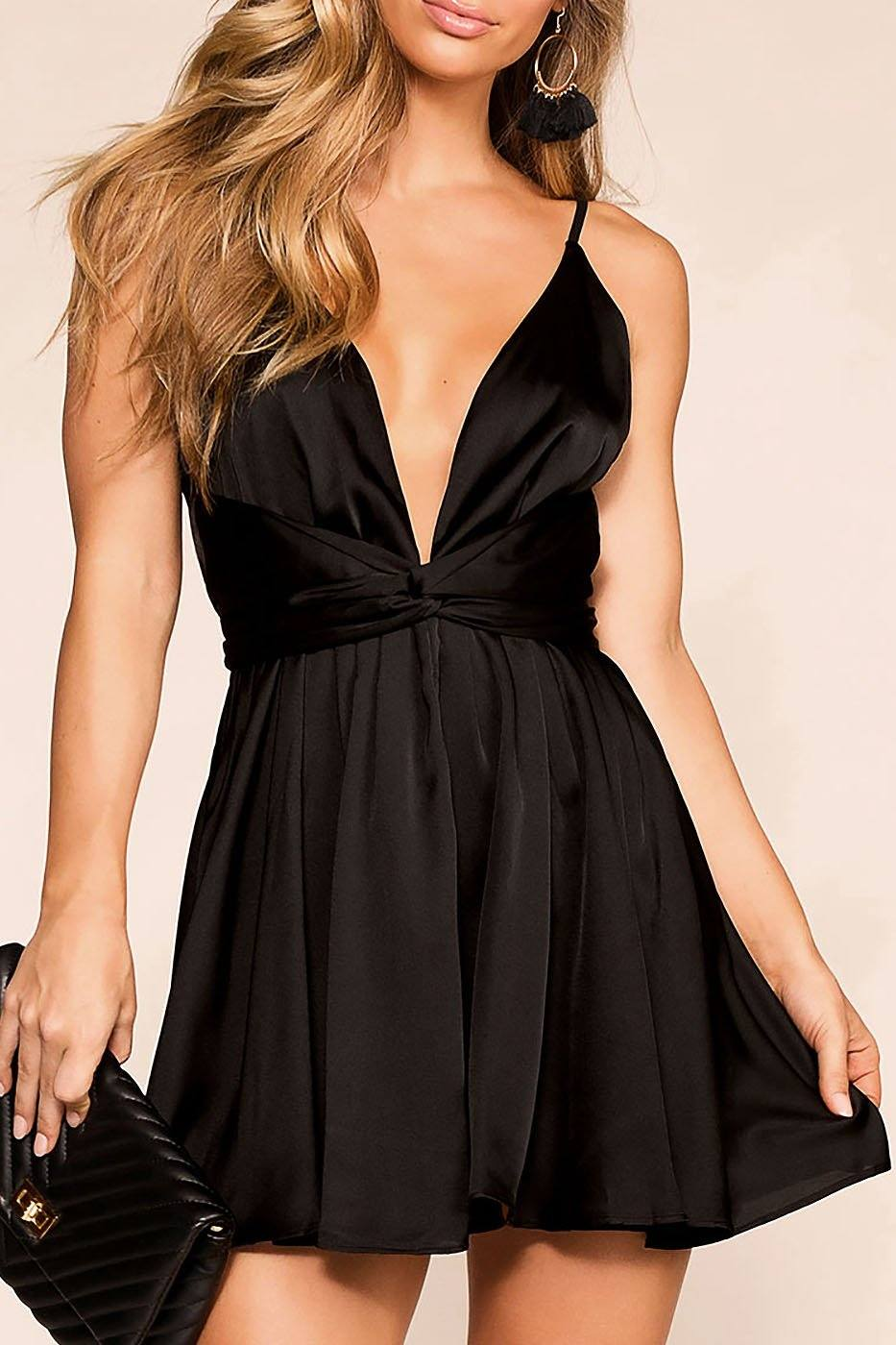 Take The Plunge Black Skater Dress | Luxxel