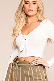 Tied Up White Long Sleeve Crop Top | Hearts & Hips