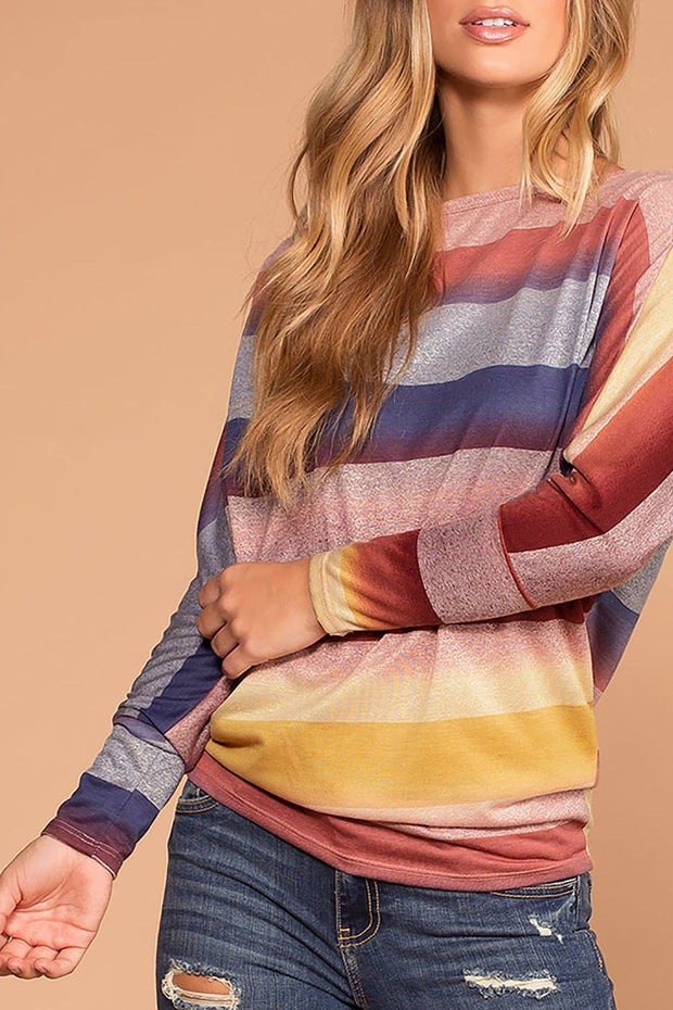 Tobi Multi Color Stripe Knit Top | 7th Ray