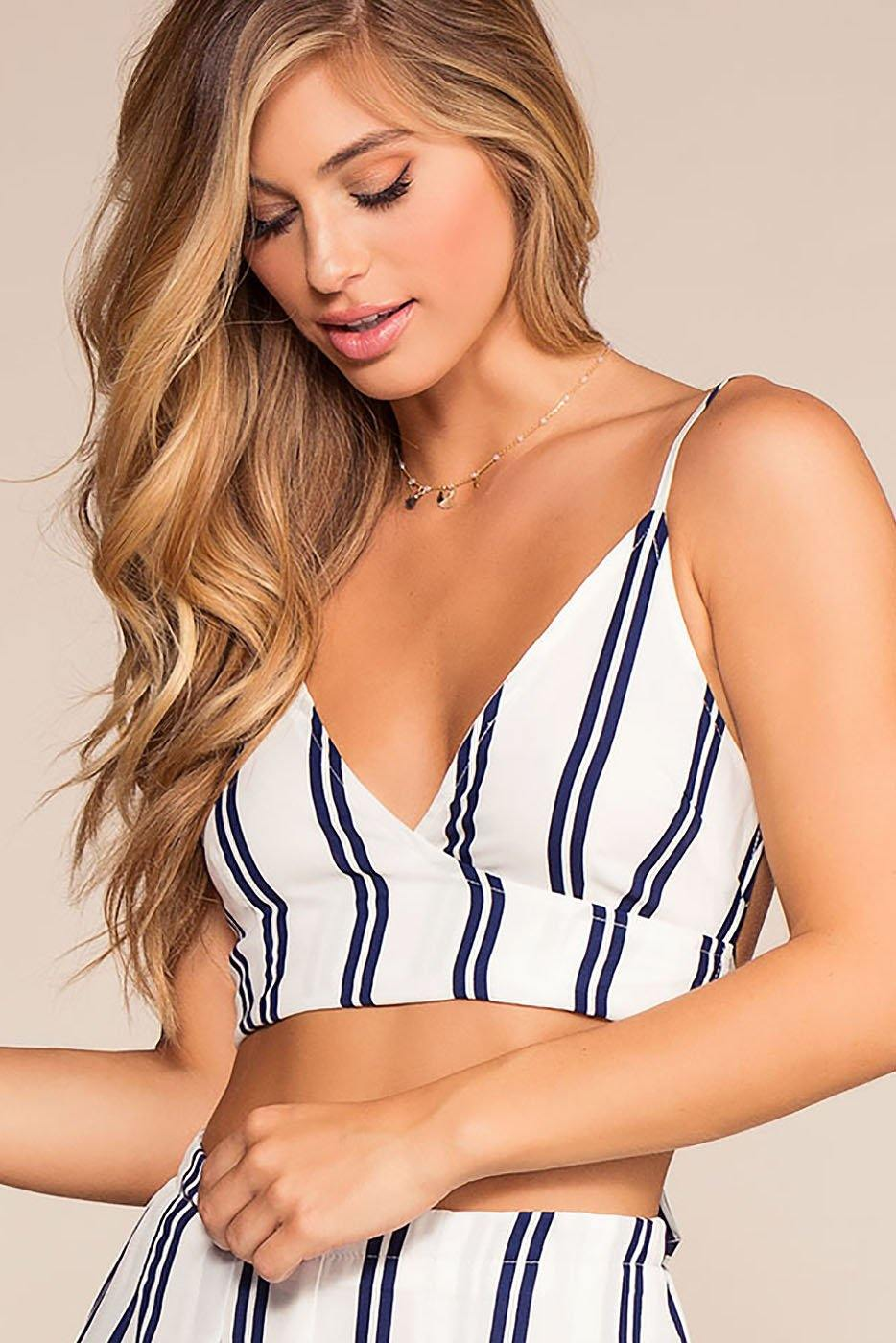 Tow The Line Stripe Crop Top - Navy | favlux