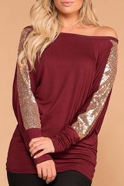 Twinkle Twinkle Burgundy Off The Shoulder Top | 7th Ray