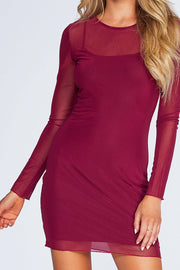 Unforgettable Mesh Dress - Burgundy | bear dance
