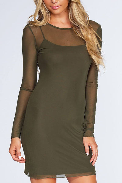 Unforgettable Mesh Dress - Olive | bear dance