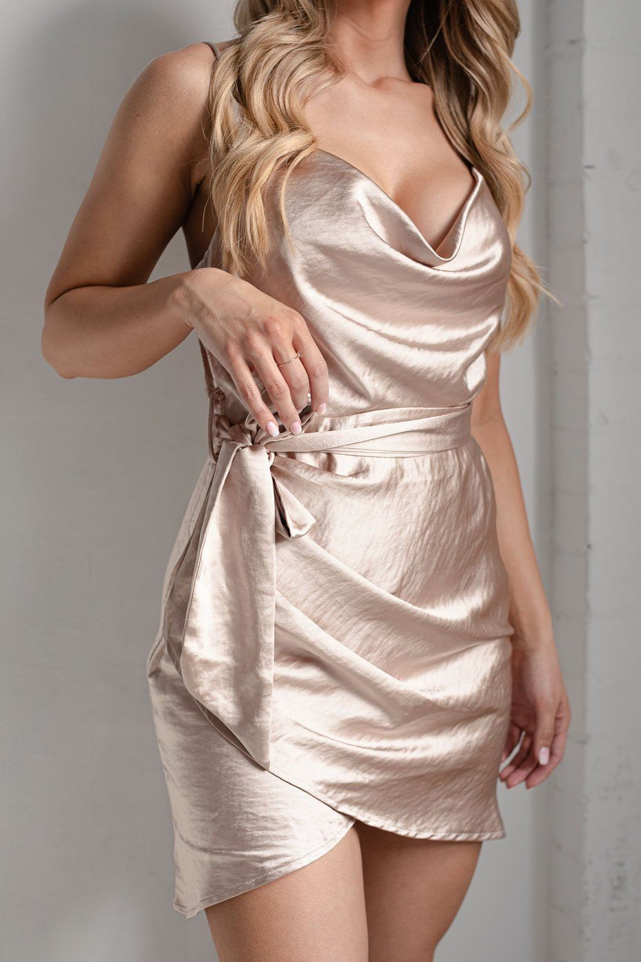 Champagne Satin Wrap Dress