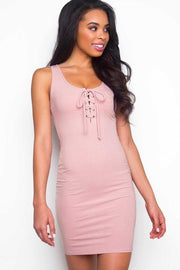 Mauve Lace Up Bodycon