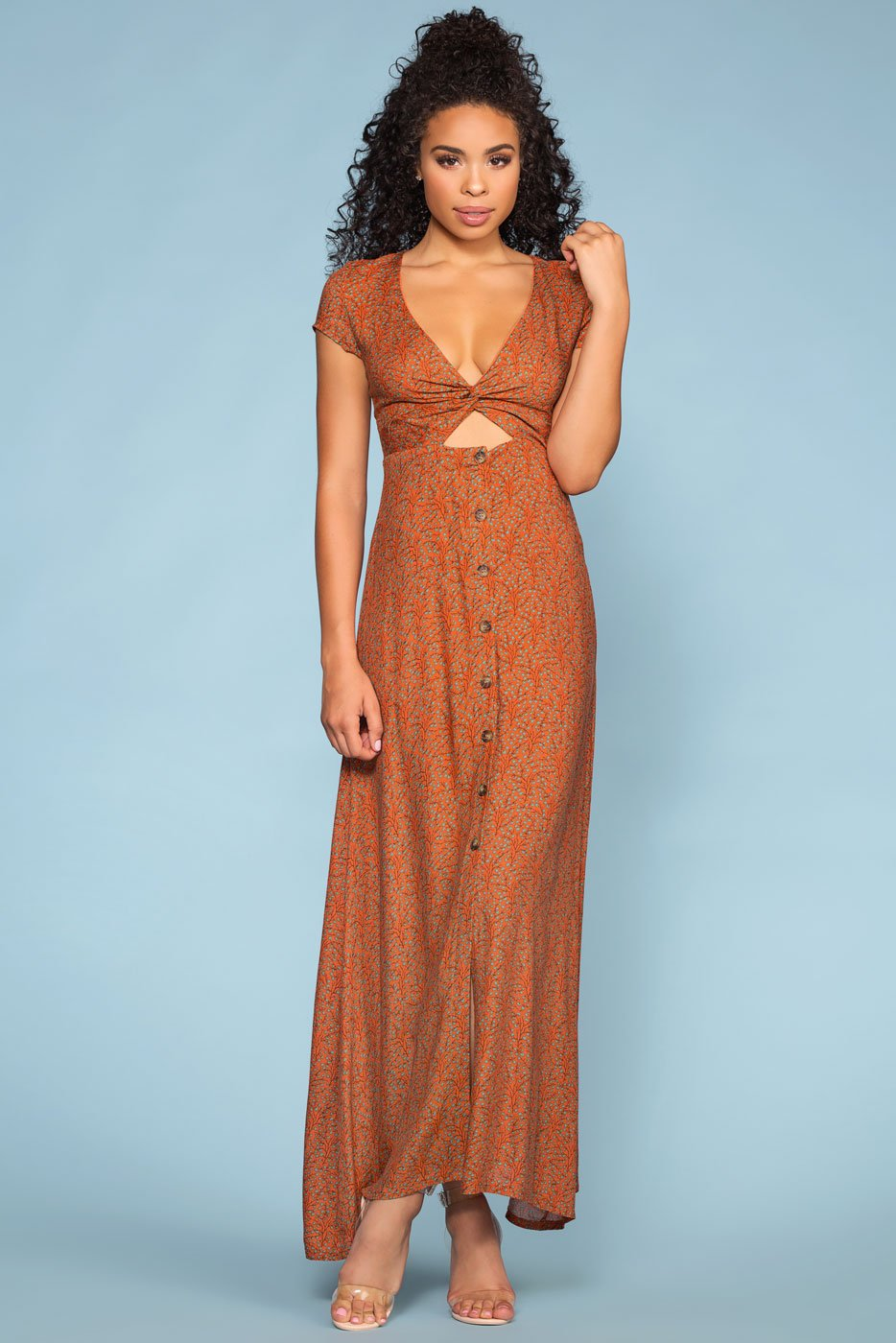 Dresses - Beginnings Peek-a-boo Button Maxi Dress