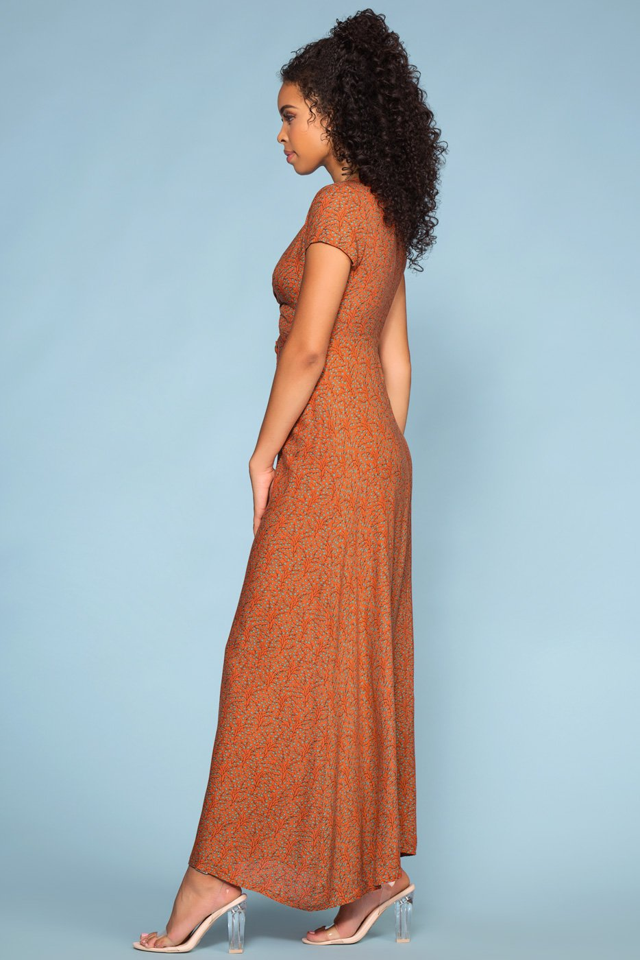 Peek-a-boo Rust Button Maxi Dress