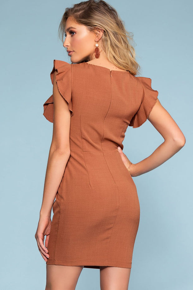 Brick Tie-Front Button Dress