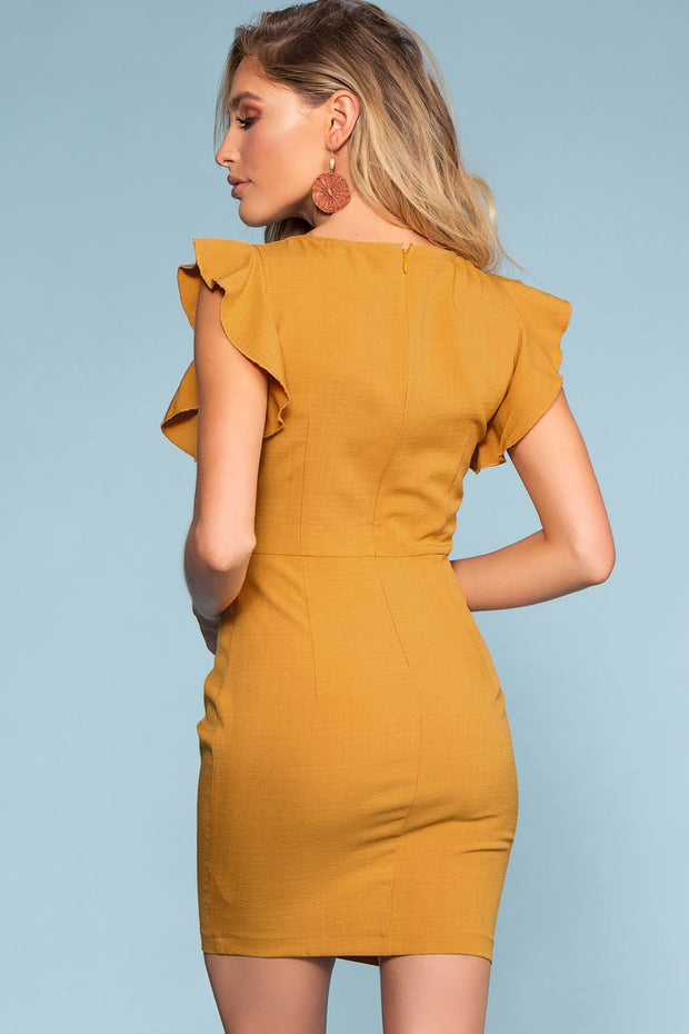 Mustard Tie-Front Button Dress