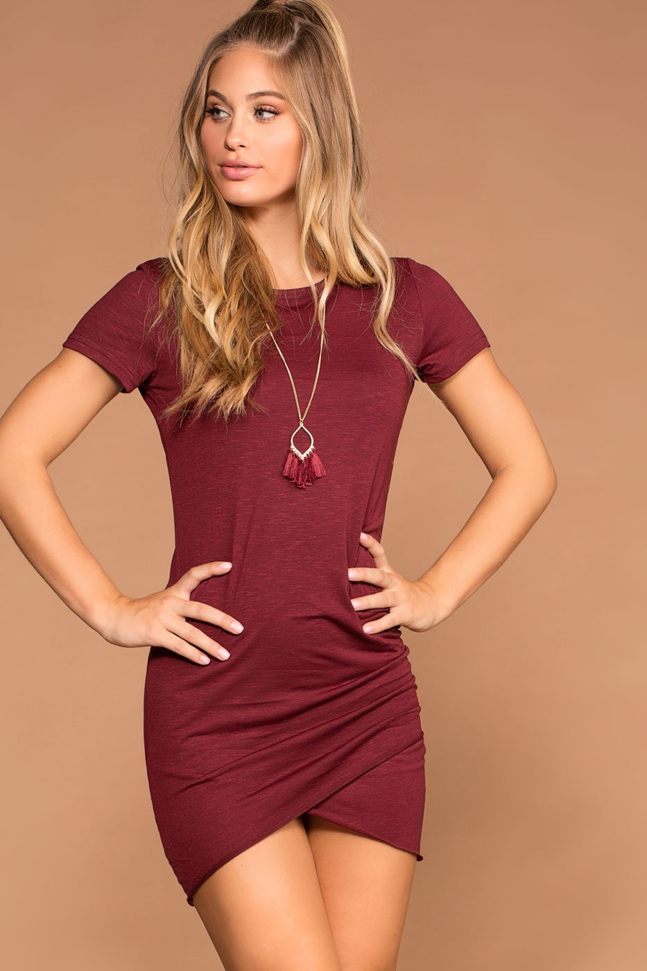 Cassi Burgundy Ruched T Shirt Dress