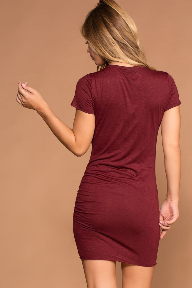 Burgundy Ruched T-shirt Dress