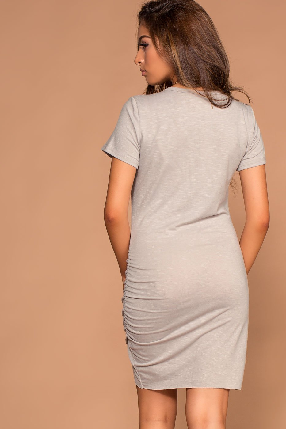 Dresses - Cassi Grey Ruched T-Shirt Dress
