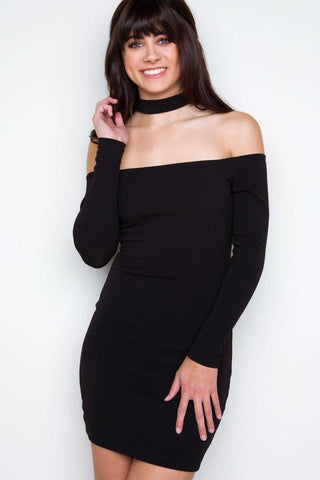 Maxine Black Wrap Mini Dress