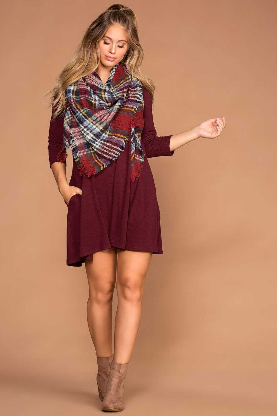 Dresses - Catching Leaves Swing Pocket Dress - Burgundy
