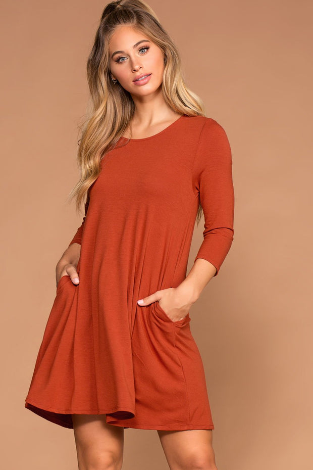 Copper Swing Pocket Dress