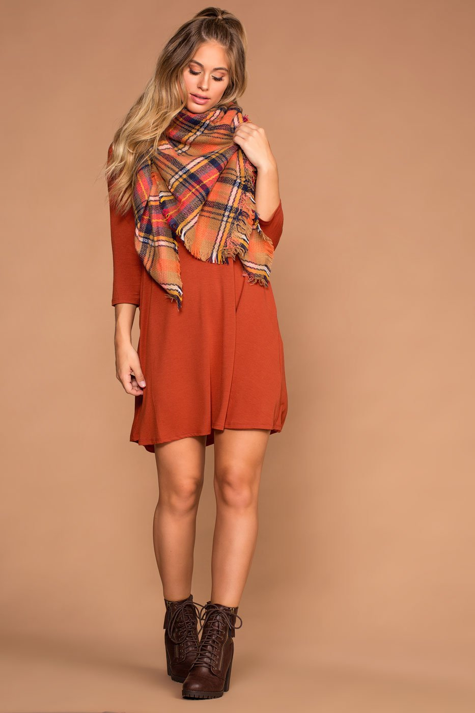 Dresses - Catching Leaves Swing Pocket Dress - Copper