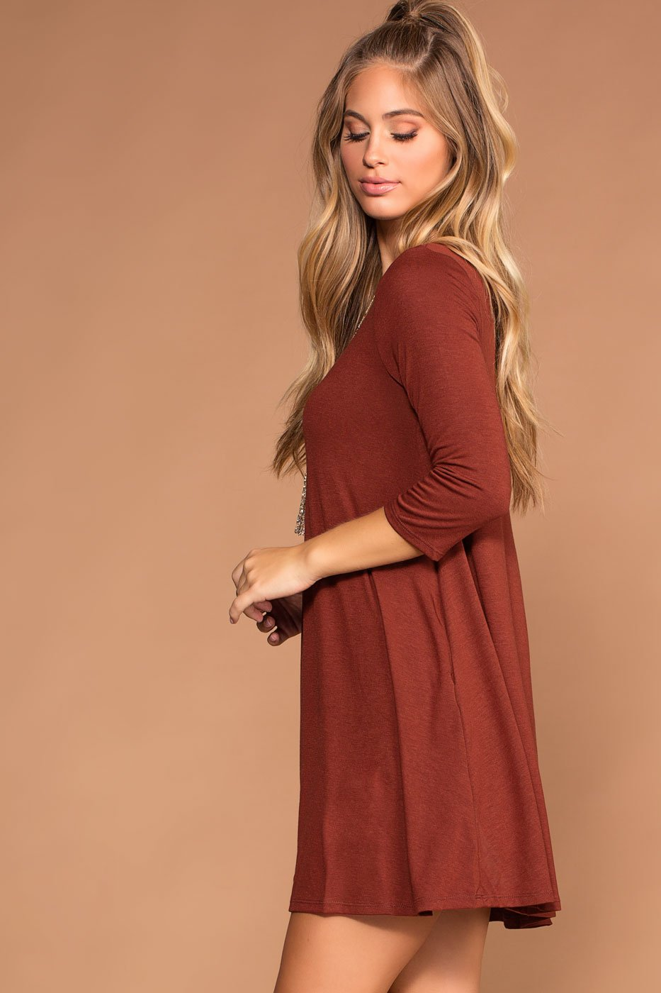 Fired Brick Swing Pocket Dress