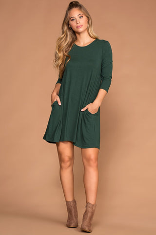 Catching Leaves Swing Pocket Dress - Ruby