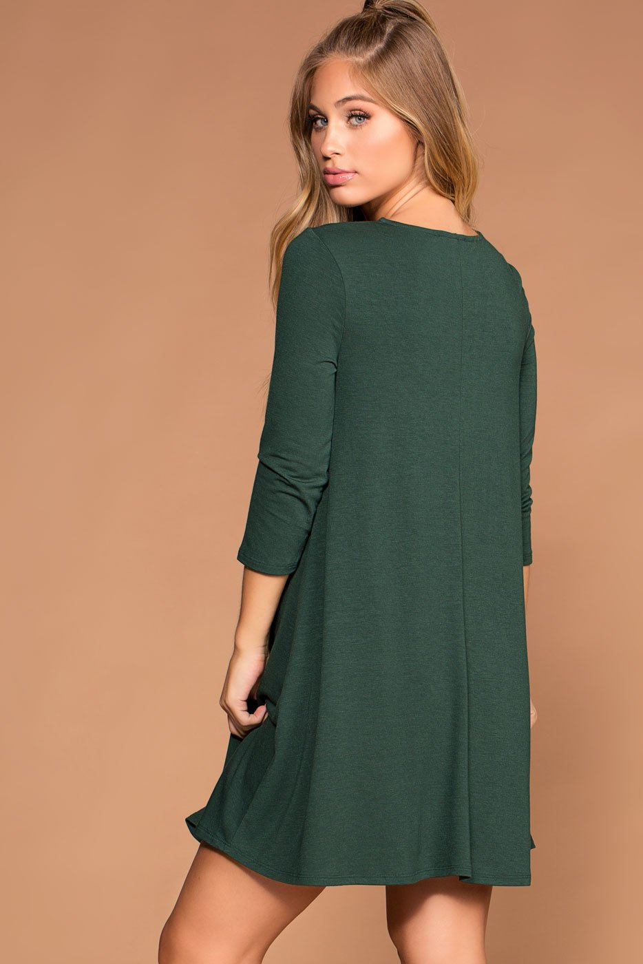 Dresses - Catching Leaves Swing Pocket Dress - Hunter
